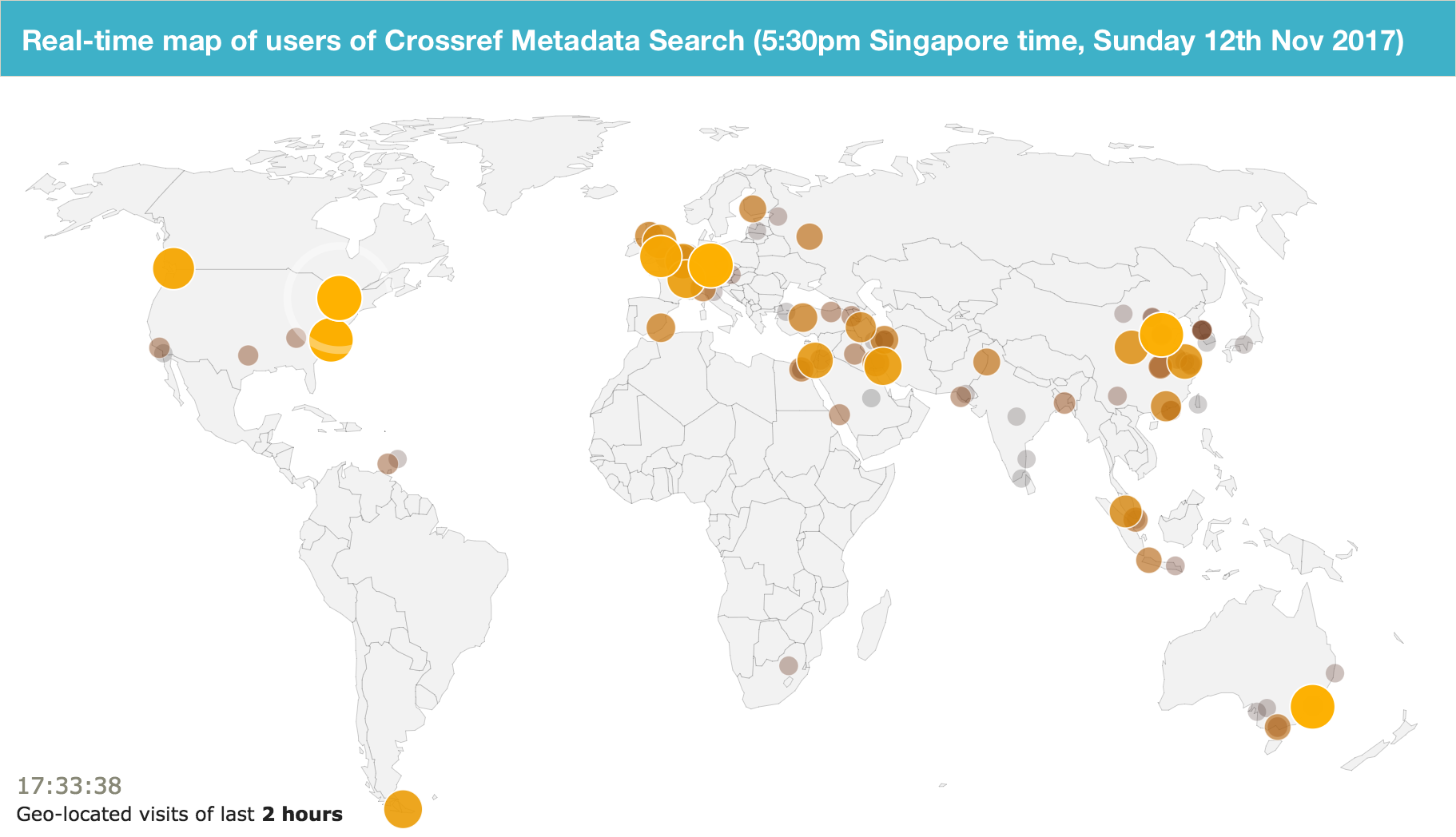 World map of current metadata search users