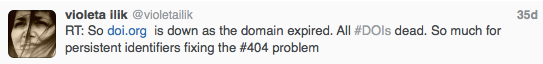 "@violetailik tweets on outage and implication for term ""persistent identifier"""