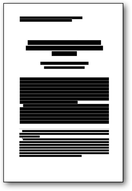 redacted article, first page